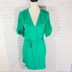 AMANDA UPRICHARD WAIST TIE GREEN SILK DRESS SMALL